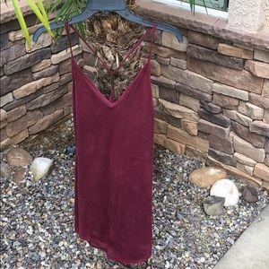 Suede mini body con dress